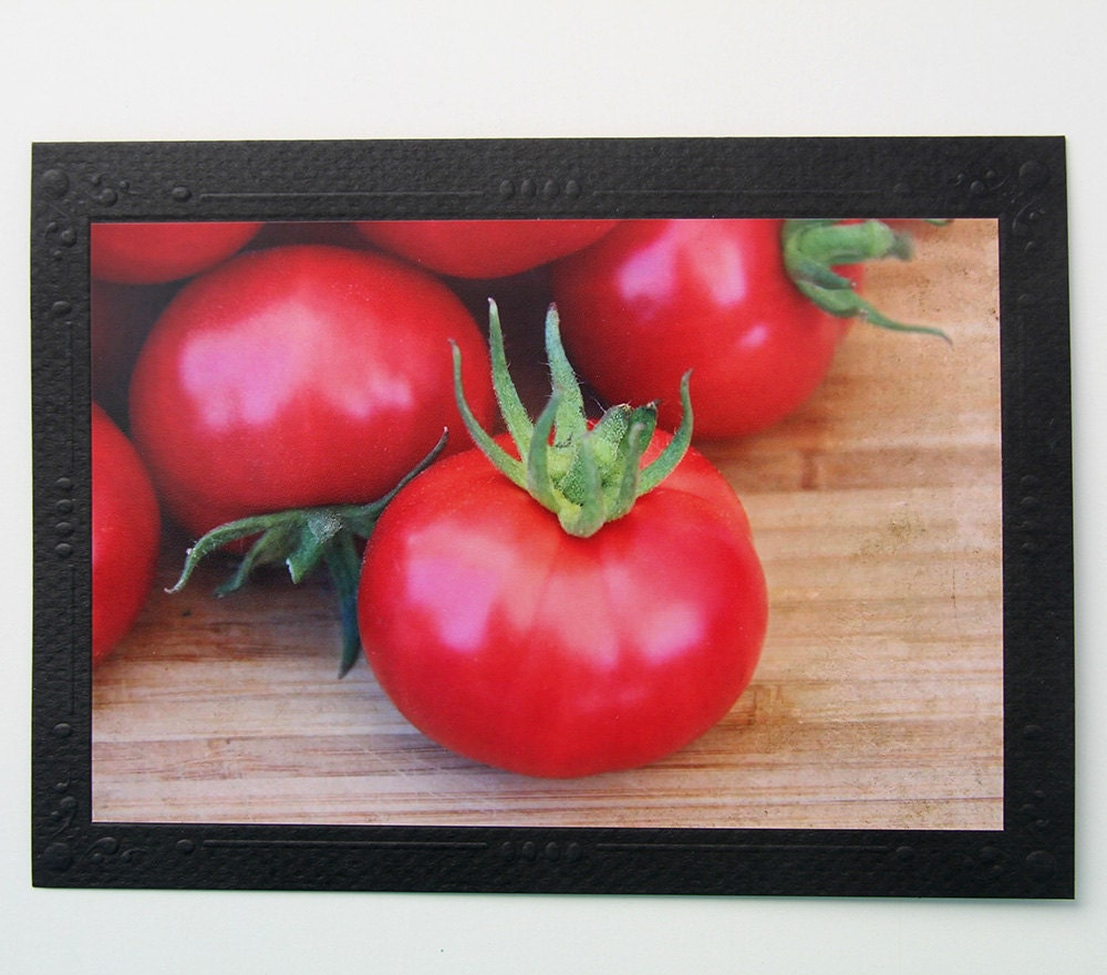 Homegrown Tomatoes Photo Greeting Card, Blank Notecard - CarolaBartz