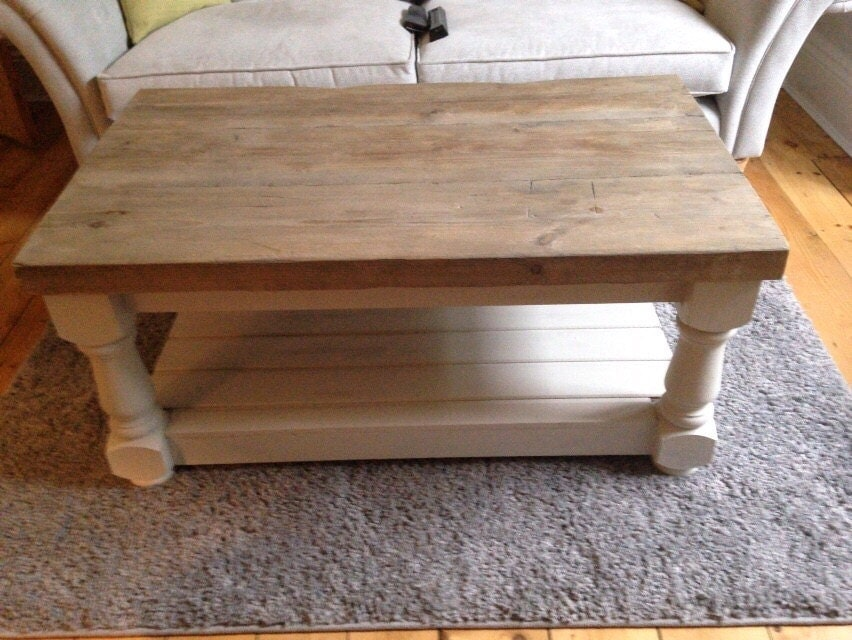Rustic coffee table with thick reclaimed wood top and lower shelf. Made to measure Painted farmhouse tv unit chunky carved legs shabby chic