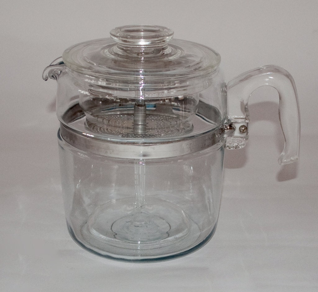 Coffee Maker Glass Pot : Vintage Glass Pyrex Coffee Pot Nine Cup by 27thAVE on Etsy