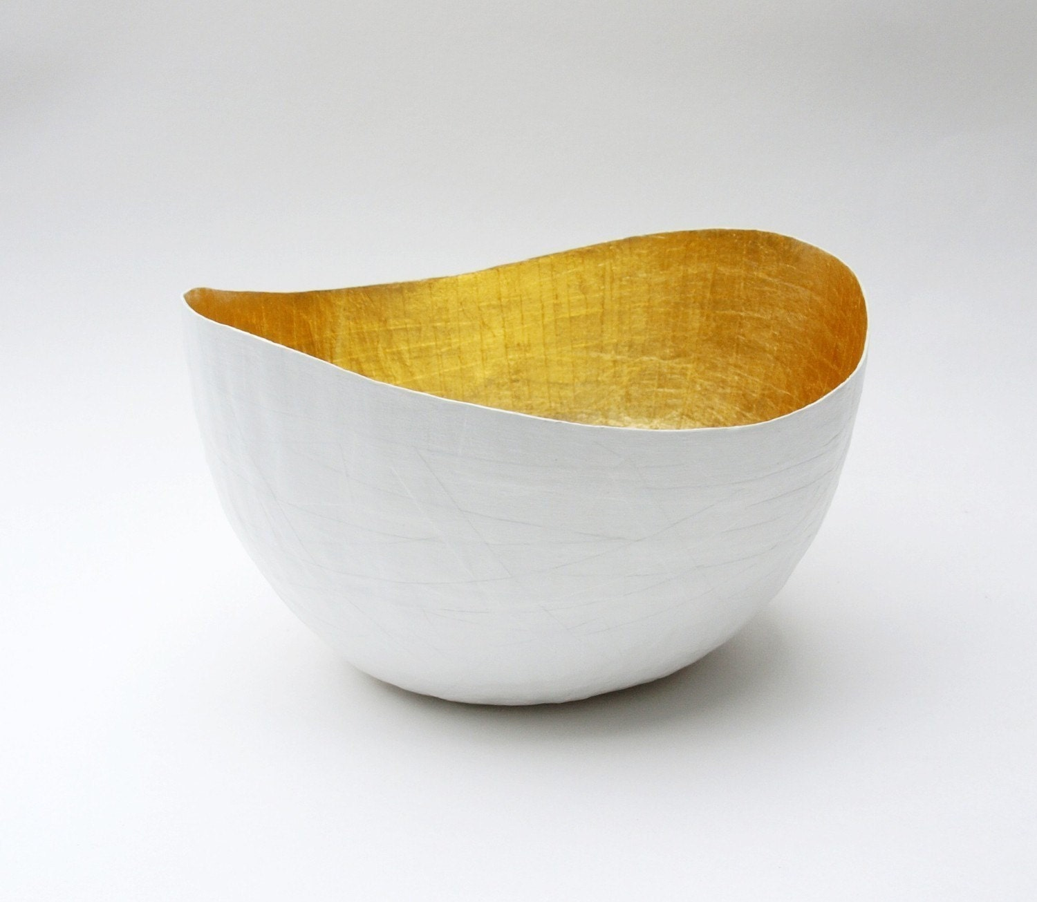 Paper Mache  Vessel in White and Gold - The Wavy - Made to order - etco