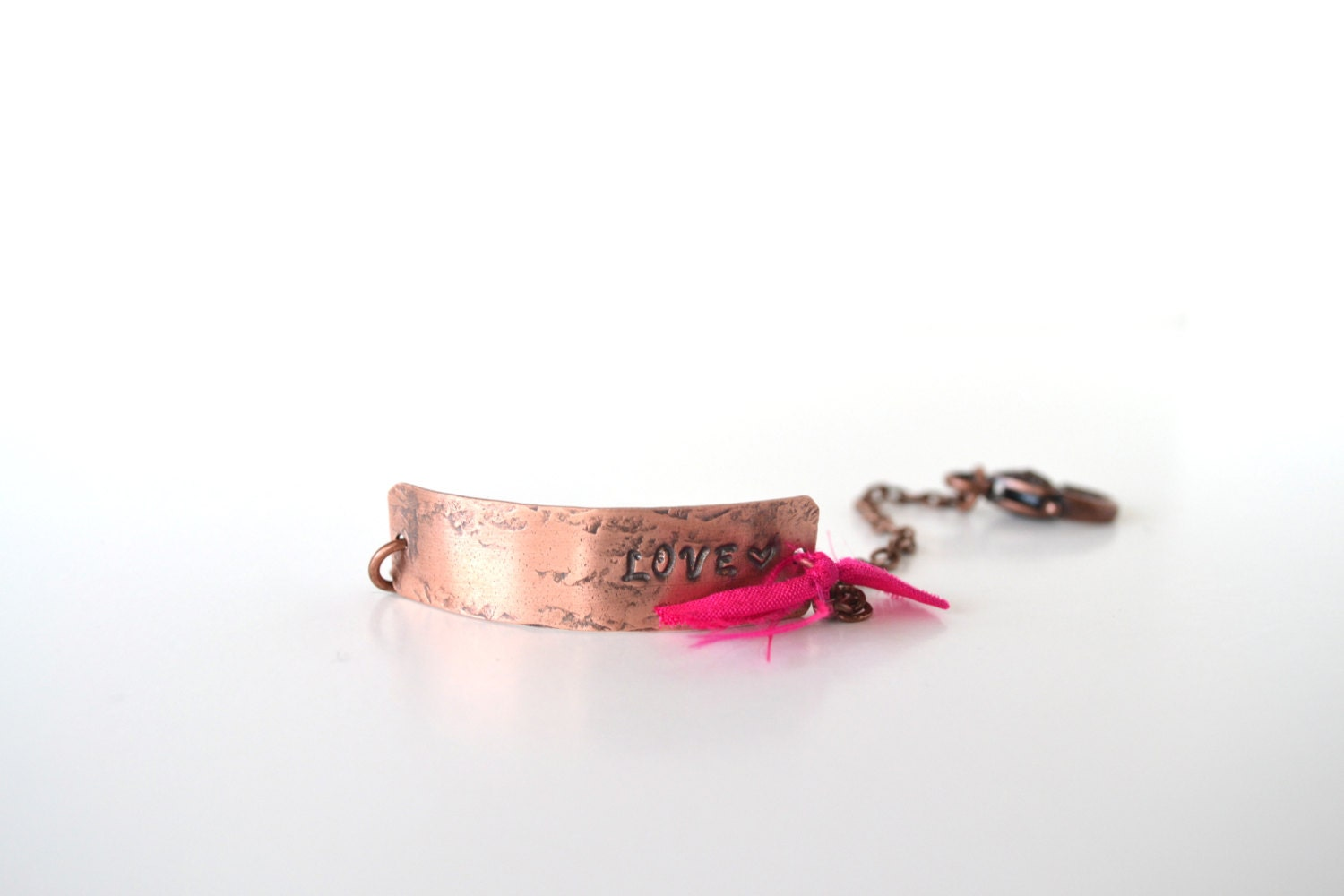 Hand Stamped Love Bracelet, handmade, hand stamped tags, antique finish - ArtIncendi
