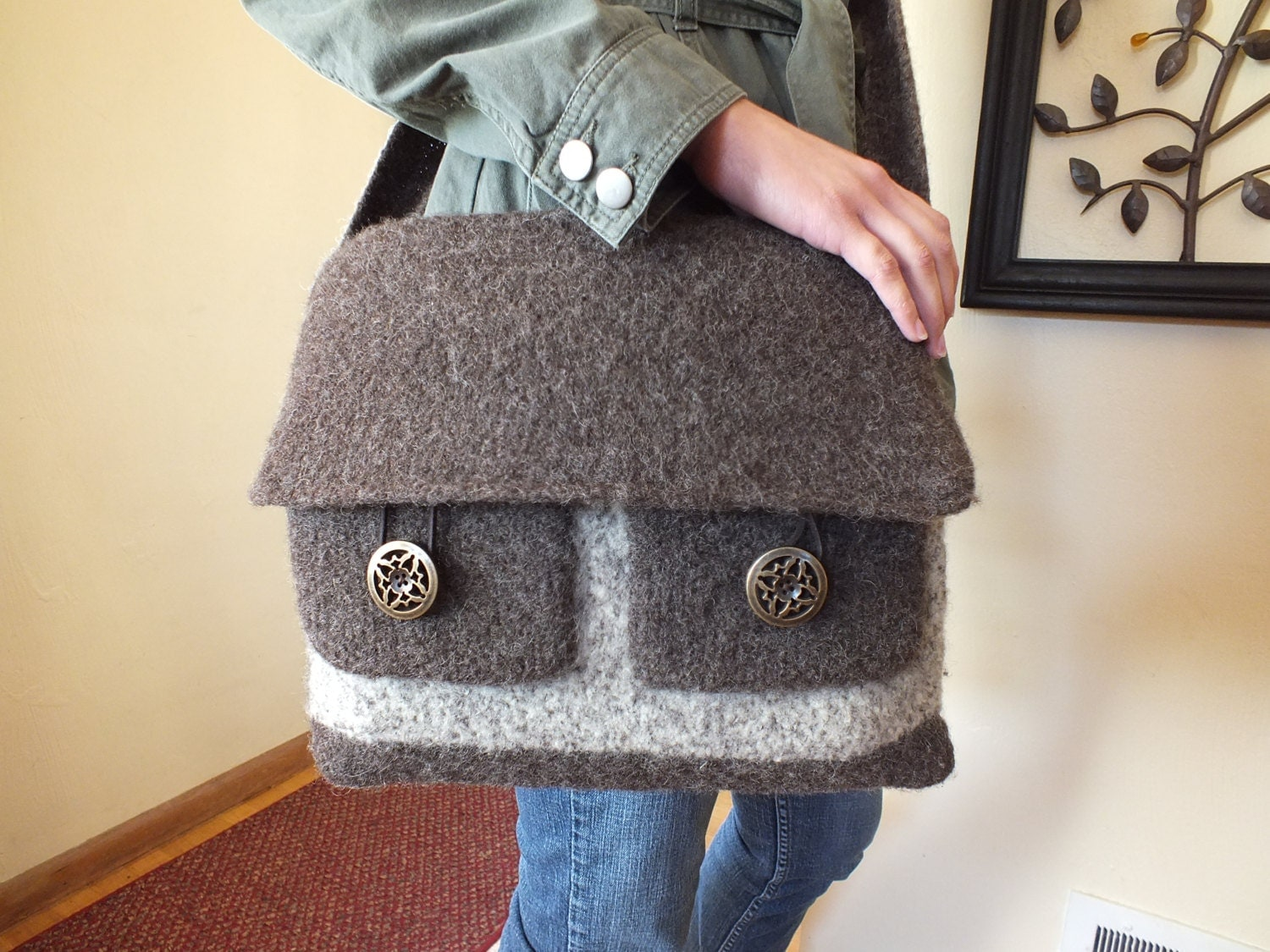 Knitting Pattern Messenger Bag : Hand knit and felted wool messenger bag in by KnittingByShelly