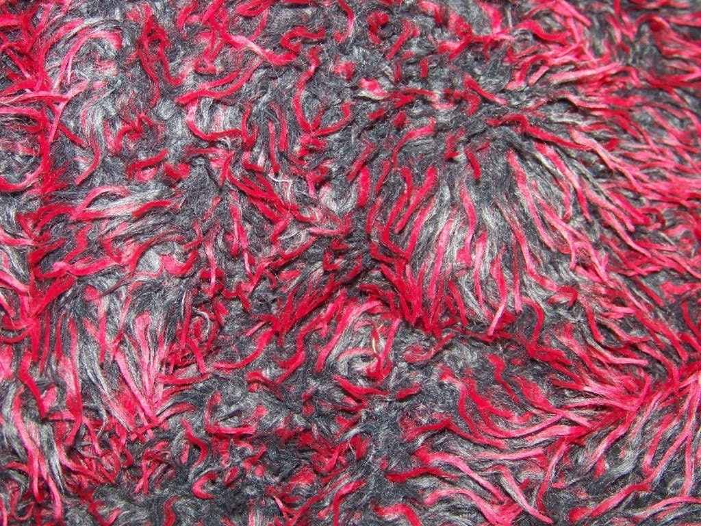 Gorgeous faux monster shaggy fur fabric red by for Monster themed fabric