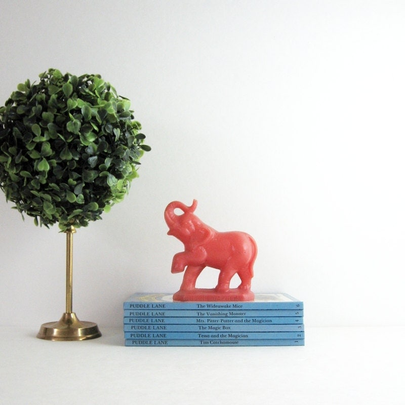 Vintage Red Elephant Collectible Zoo Animal Busch By Lastcentury