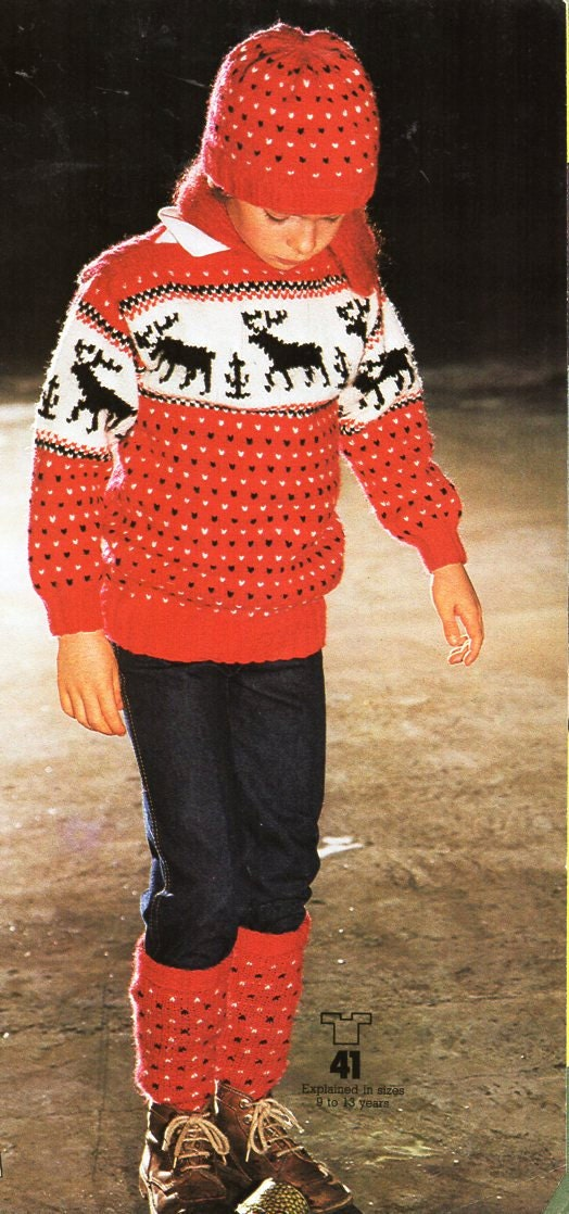 childrens reindeer sweater hat socks set knitting pattern pdf Reindeer jumper 3032 aran worsted 10ply pdf instant download