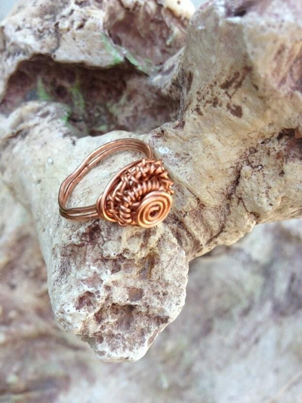 Pretty and petite artist designed copper wirewrapped ring