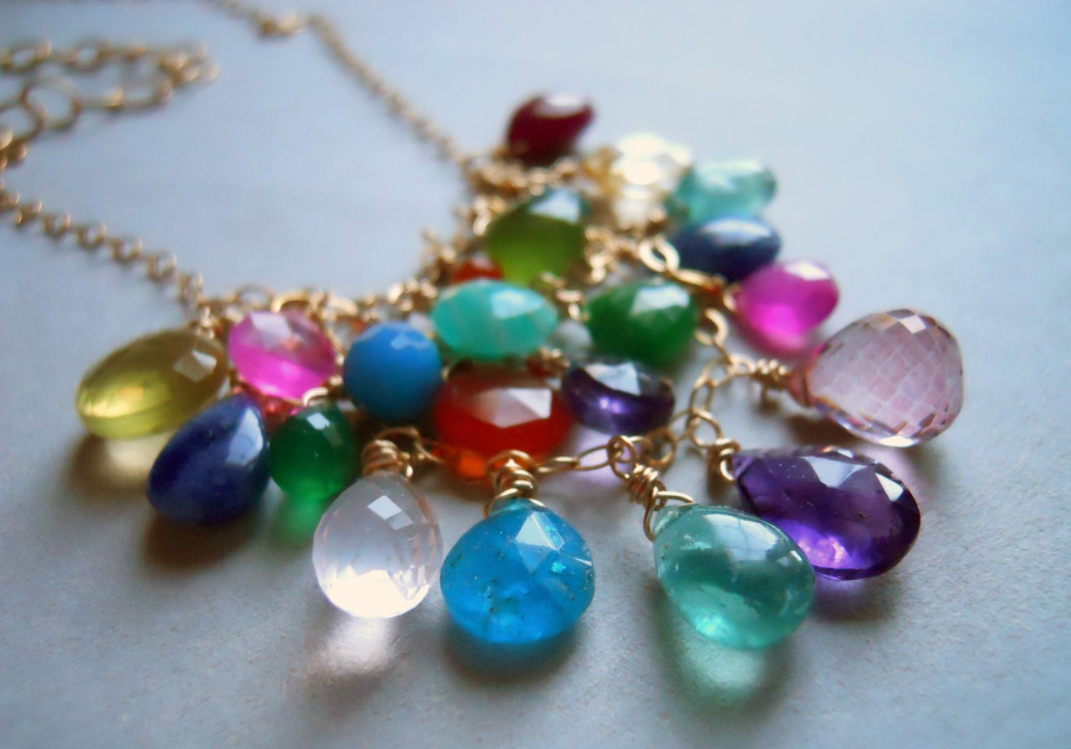 Go to Town Multi Gem Colorful Web BIB necklace