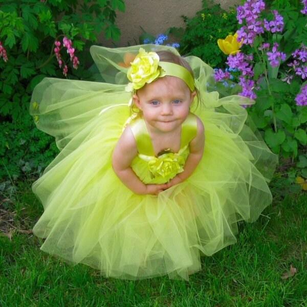 Yellow Fairy Princess Gown Flower Girl Tutu Dress Halloween Costume 2pc Set