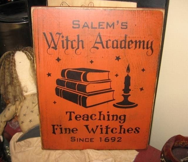 Salem Witches Academy Witch Wiccan Handpainted by thehomespunraven