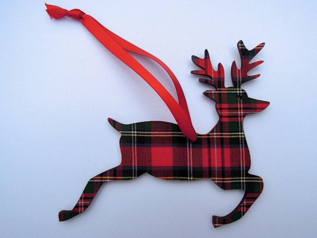 Christmas Tree Decoration Scottish Tartan Deer By Artcuts