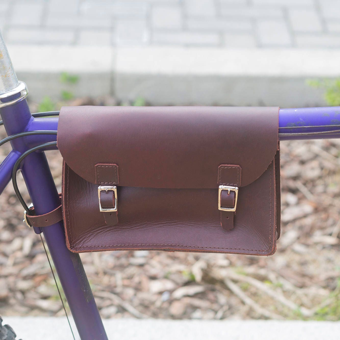 Bicycle Frame Bag Handcrafted Natural Leather CHERRY BROWN 8.6x6.5x2