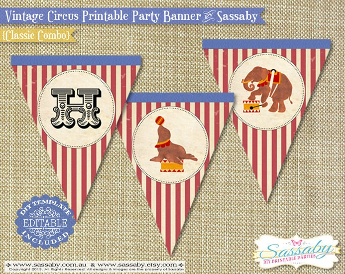 Printable Vintage Birthday Banner ~ Vintage circus party banner instant download editable by