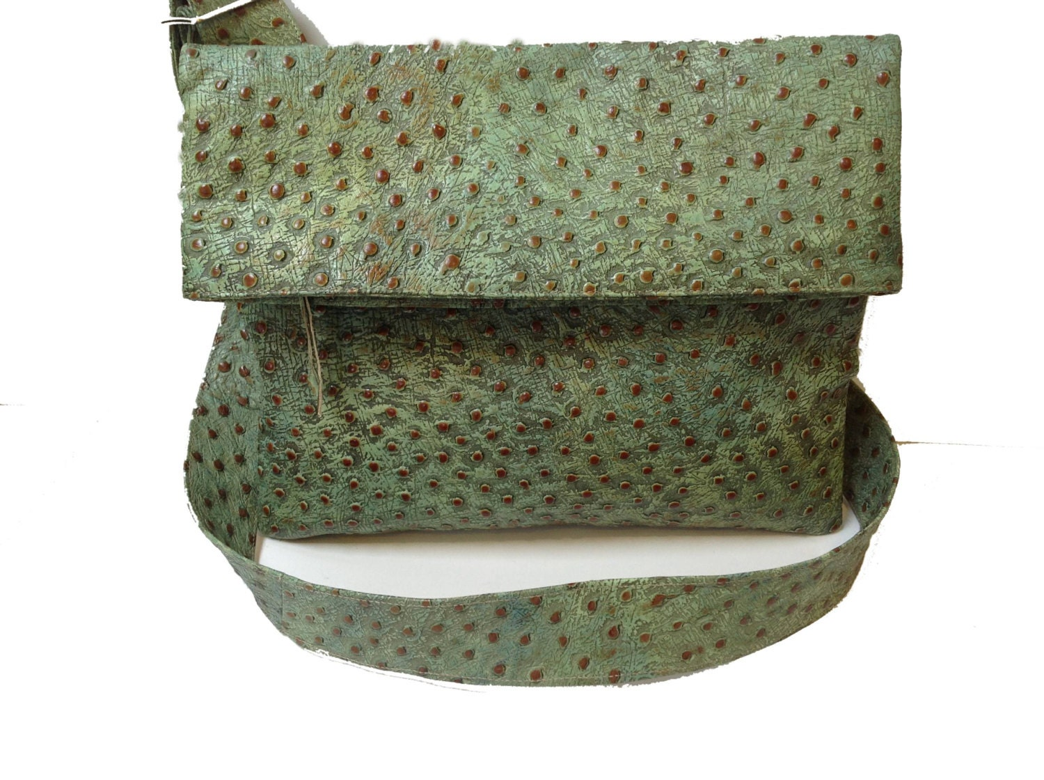 Ostrich Embossed Cross Body Leather Messenger Sage and British Tan Made to Order - CarolSMiller