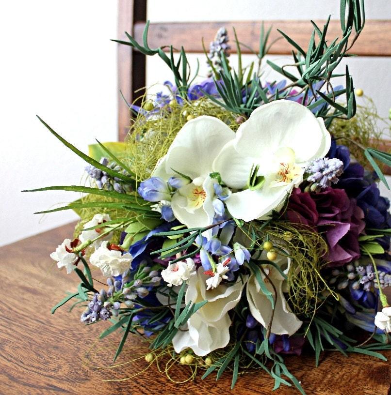 Гортензии, мускари и орхидей Свадебный букет