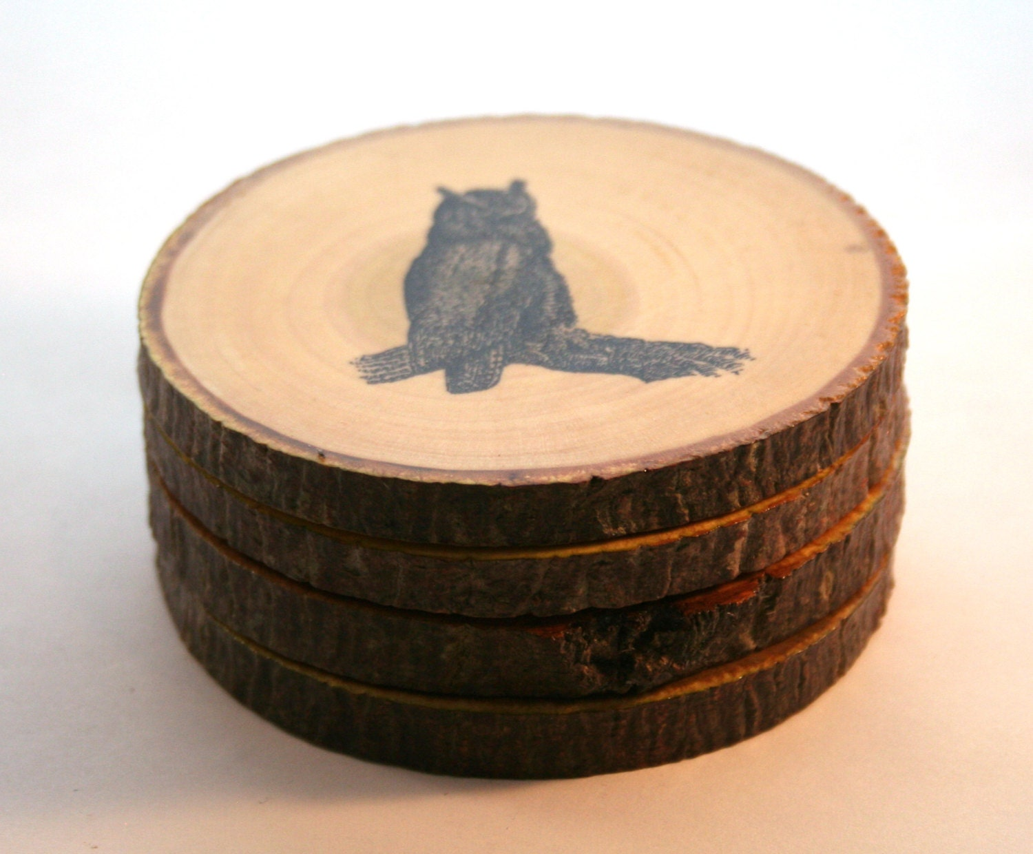 Items similar to handmade wooden owl on a branch coasters for Handmade drink coasters
