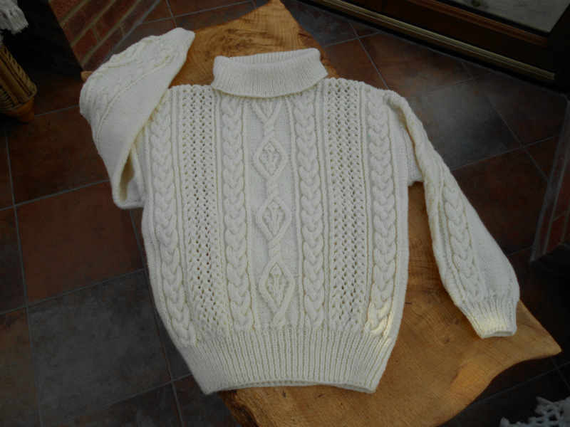 Cream Aran Ladies Roll  Polo Neck Hand Knit Sweater  jumper  pullover