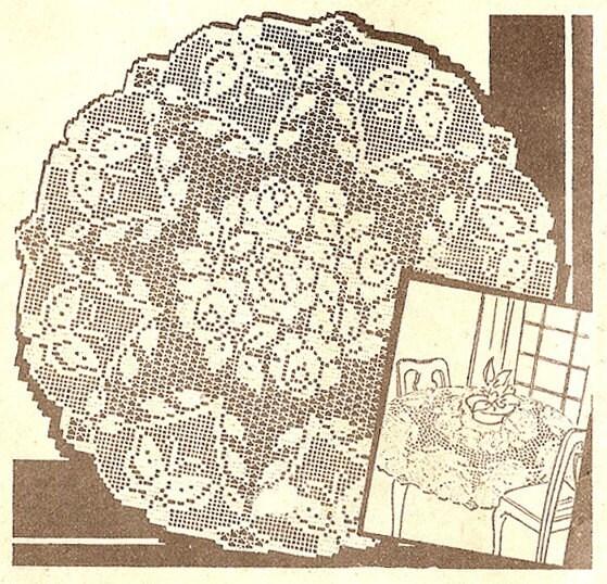 Filet Crochet Tablecloth Pattern by nanastrunk on Etsy