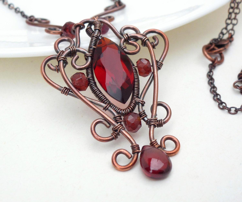 Dark red gothic necklace, red quartz copper necklace, wire wrap jewelry handmade garnet necklace, autumn copper jewelry - CreativityJewellery