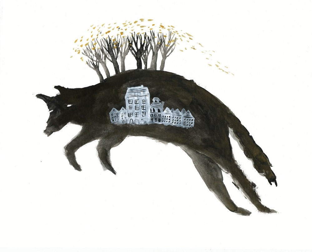 Leaping Wolf with Houses Archival Art Print - benconservato