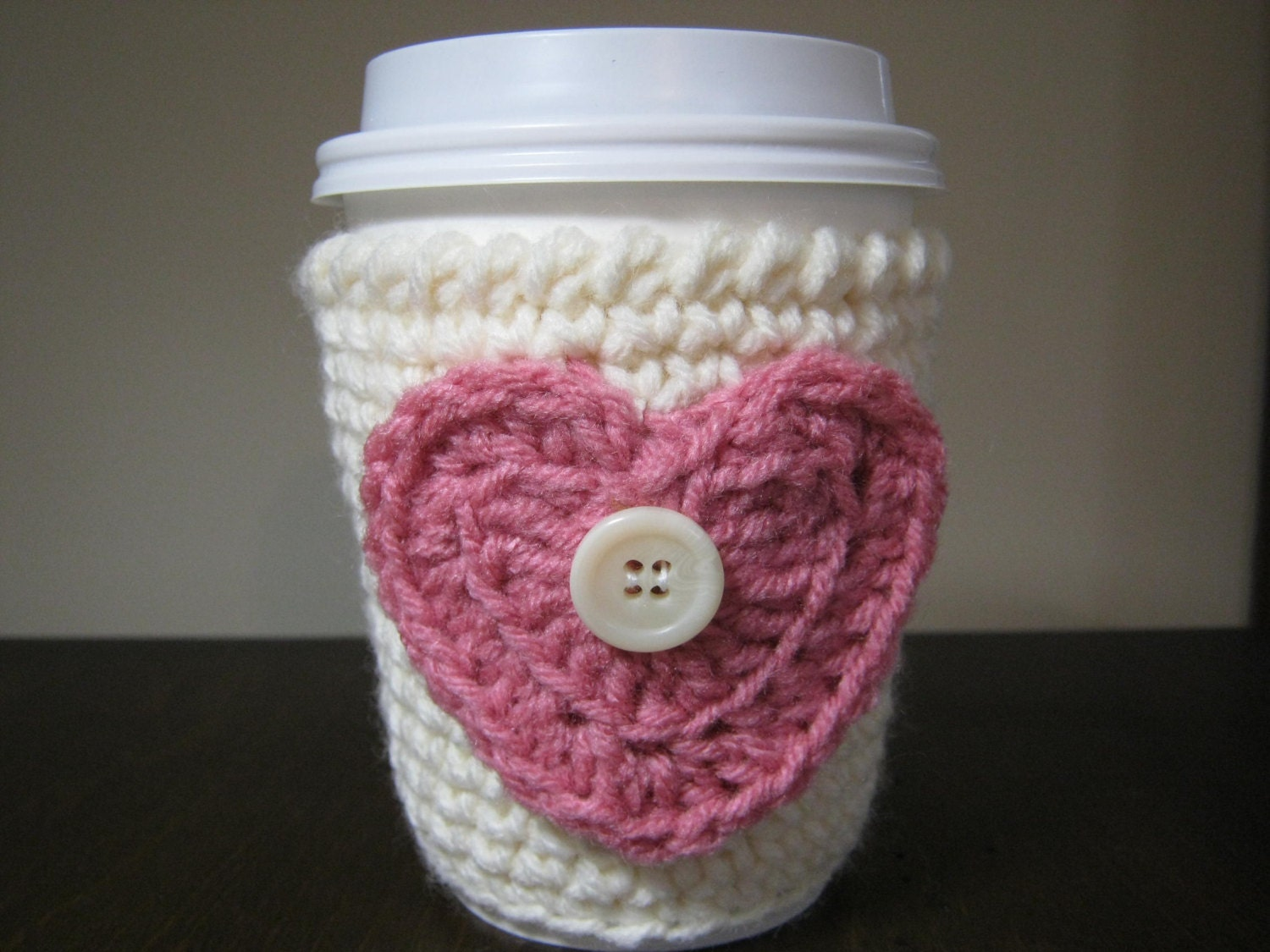Crochet coffee cup cozy perfect for Valentines or Mother's Day gift