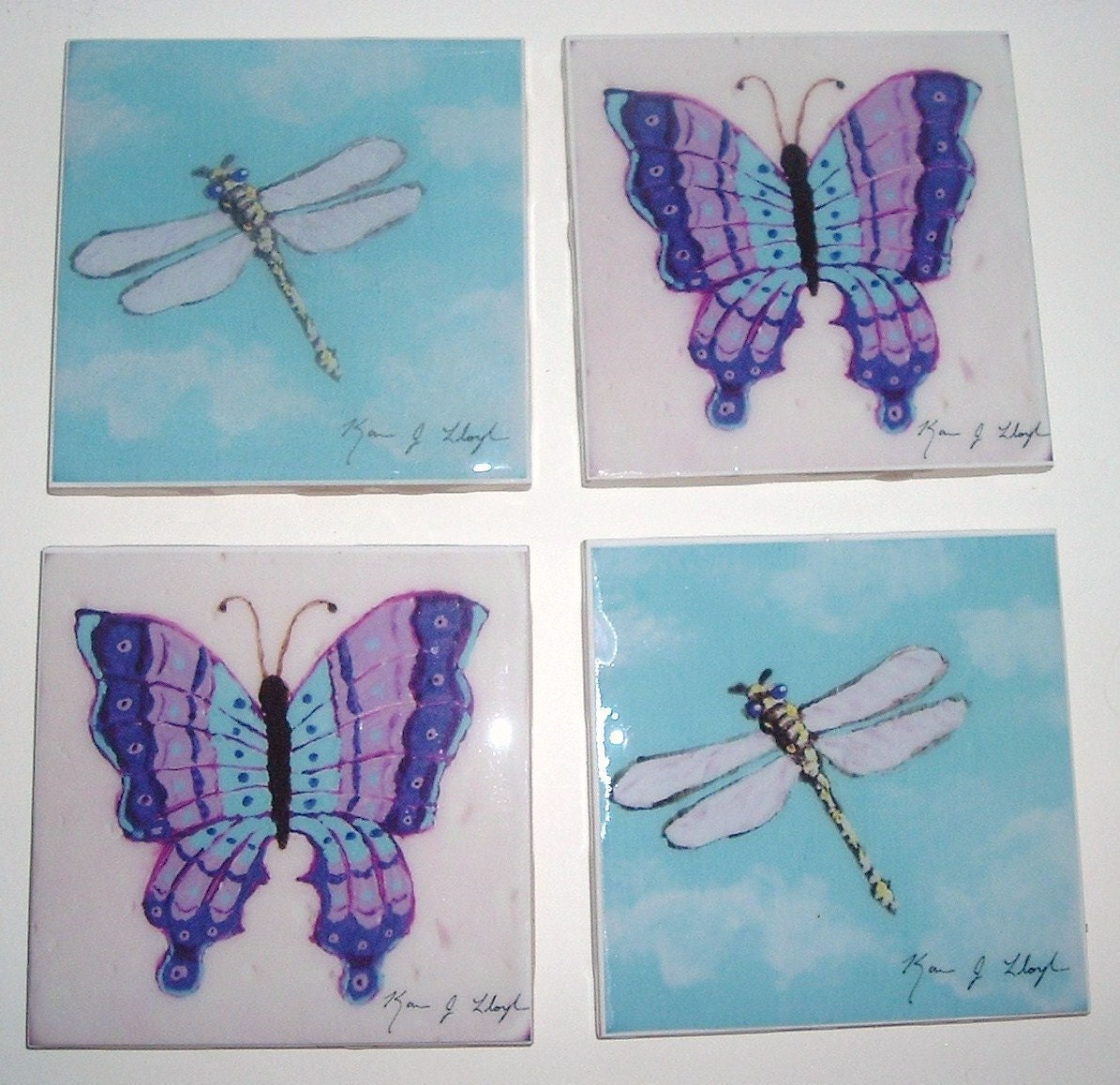 Butterfly & Dragonfly Whimsy of the Sky Series - Set of 4 Art Tiles / Ceramic Coasters