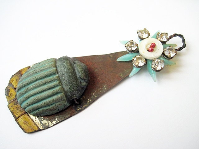The Beauty. Scarab and Flower Assemblage Pendant. Rustic Shabby Aqua Mint With Ceramic Art Bead.