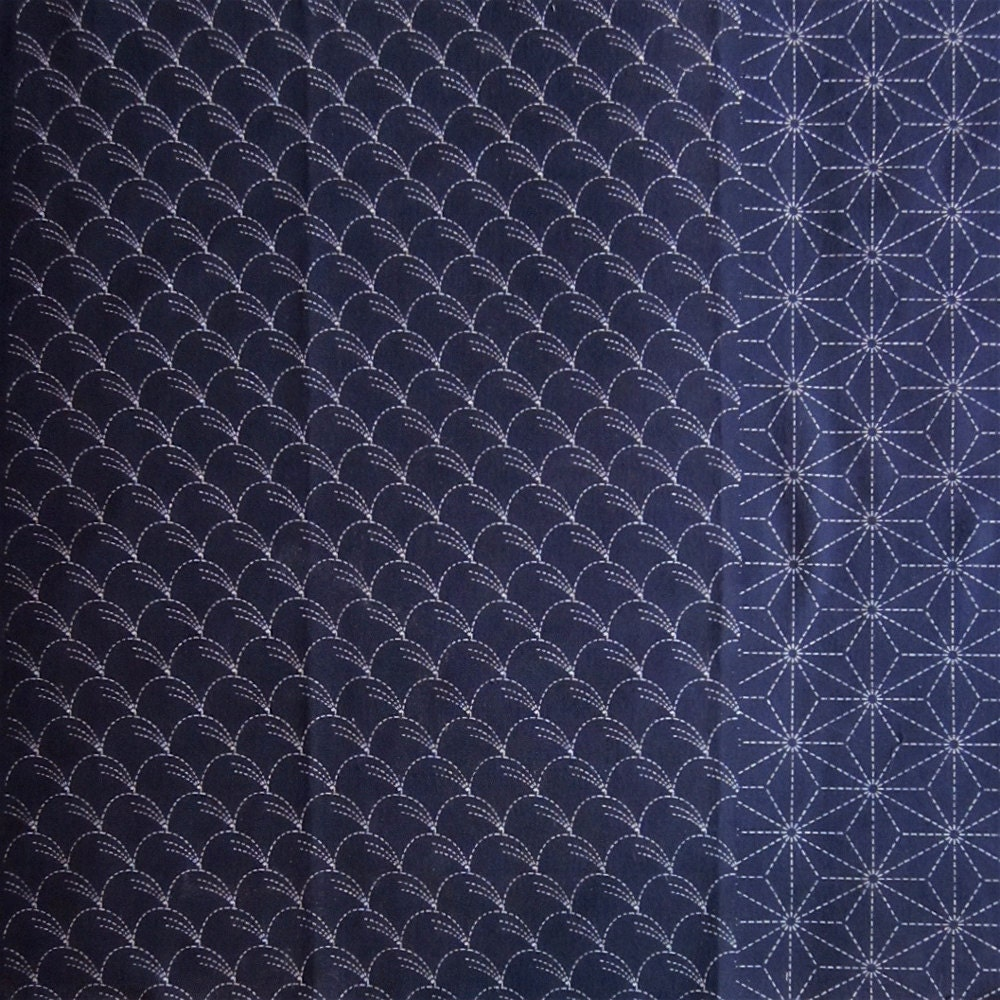 Japanese sashiko fabric one indigo fat quarter by ...