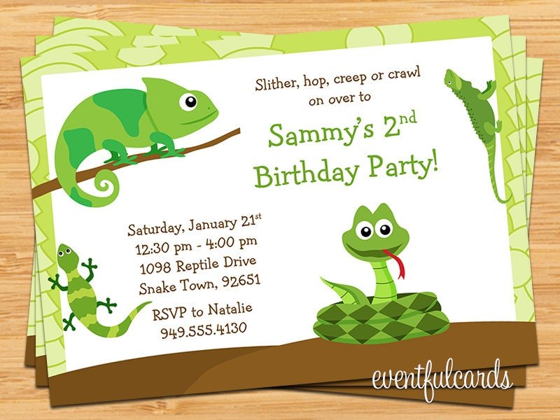 Reptile Birthday Party Invitation By Eventfulcards Catch