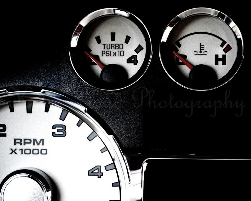 Dashboard of a Truck - 16x20 Fine Art Auto Photography Print - Black and White High Contrast Home Decor Photo