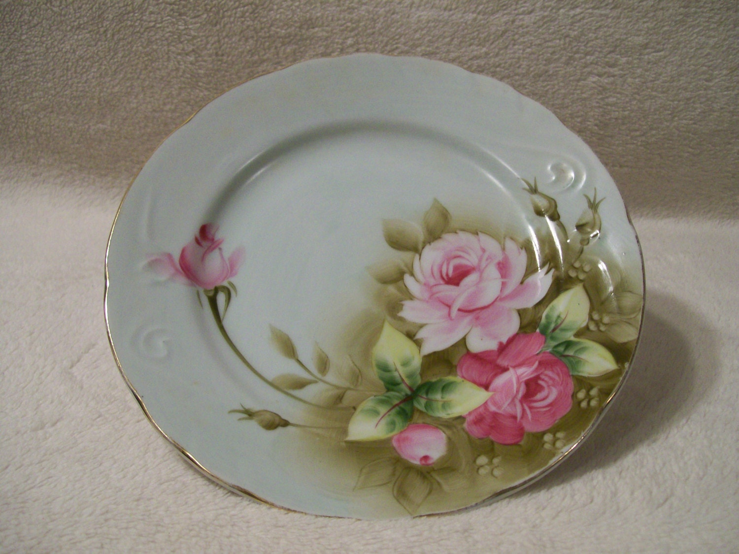 Hand Painted Lefton China, Rose plate # 3068 - RoseThrones
