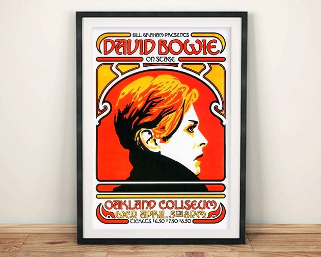 DAVID BOWIE POSTER Vintage Concert Poster Reproduction Rock Gig Art Print Wall Hanging
