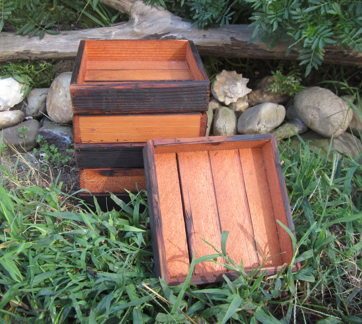 Small reclaimed wood centerpiece trays by