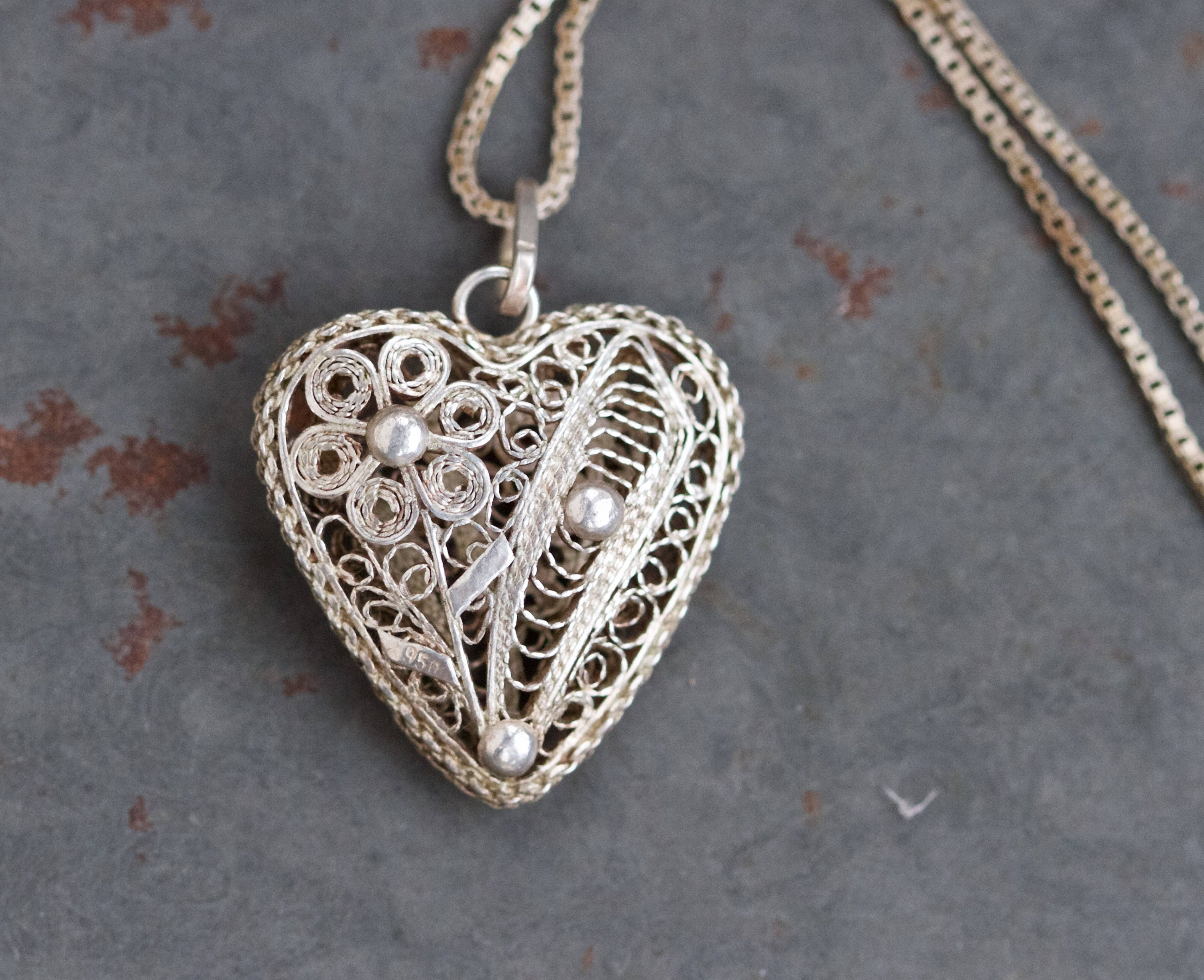 Filigree Heart Necklace  Sterling Silver Vintage Love Pendant on Chain