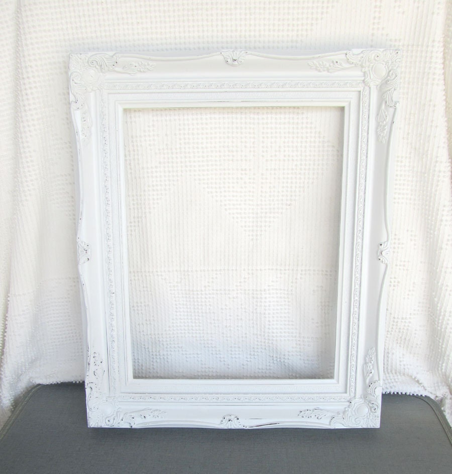 Coastal decor bathroom - Shabby Chic White Large Ornate Open Resin Frame Gallery Wall Shabby