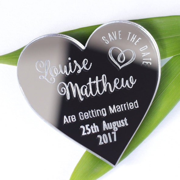 Save the date mirrored magnets mirrored save the date silver gold wedding magnets S2