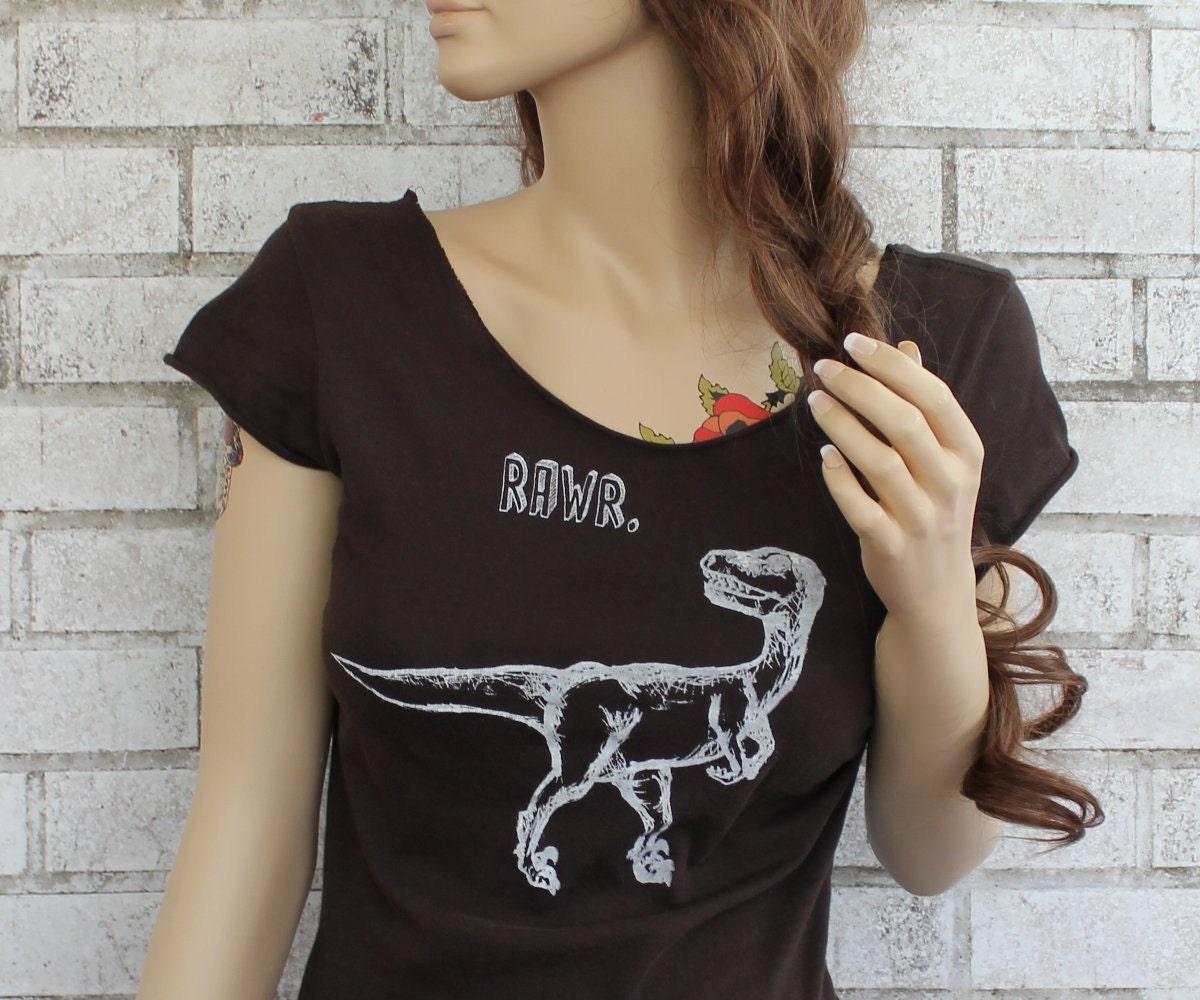 Raw edge dinosaur t shirt velociraptor ladies by for Raw edge t shirt women s