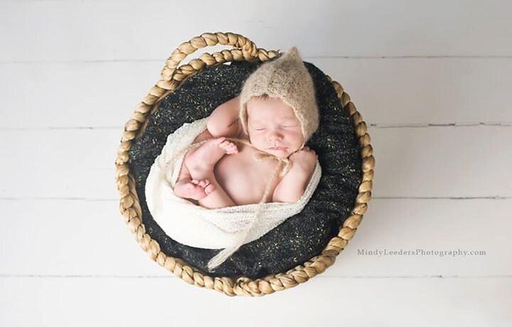 Mohair Silk CrochetKnitt Pixie Bonnet  Baby bonnet Baby hat.