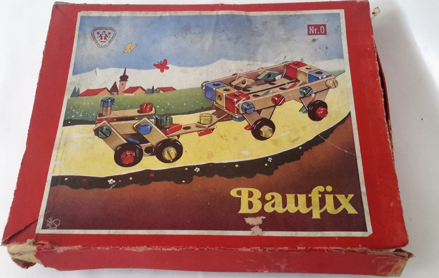 Vintage wooden toy construction set Baufix 1950s toy childrens educational toy for 3yrs  building kit for Christmas.
