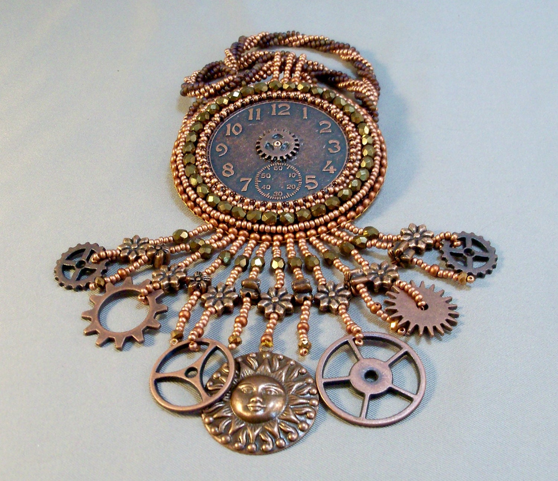 Steampunk Antique Copper Beadwoven Necklace - beadn4fun