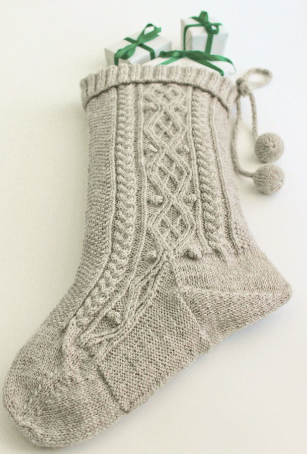 Hand knit luxurious large cable christmas stocking home decor 100