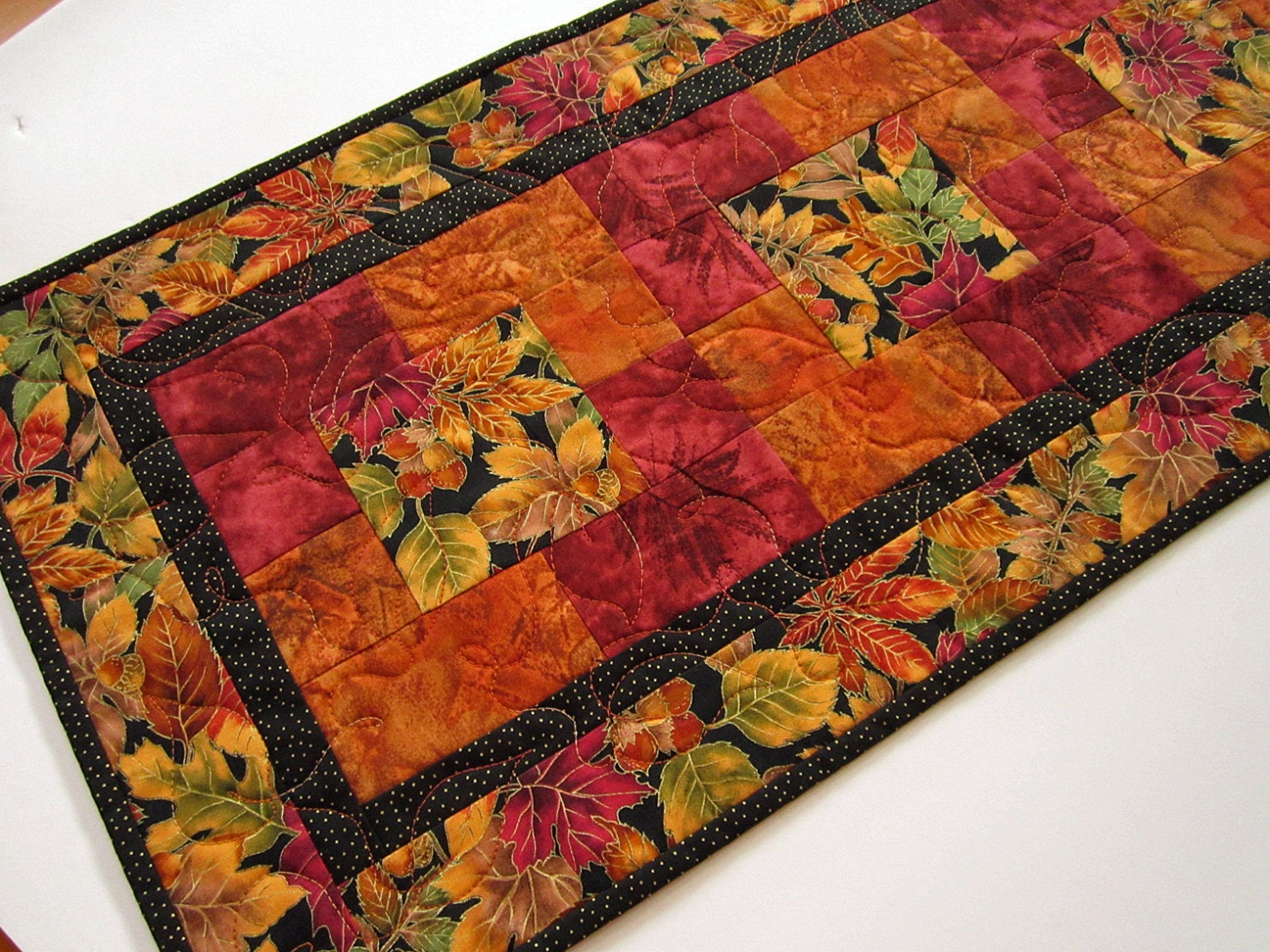 Handmade Fall Colors Quilted Table Runner by PatchworkMountain