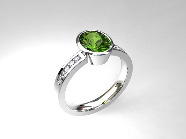 oval cut peridot ring engagement ring by
