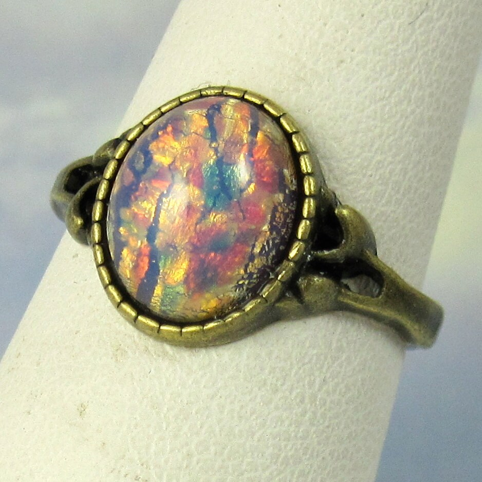 pink opal ring antique gold band vintage by