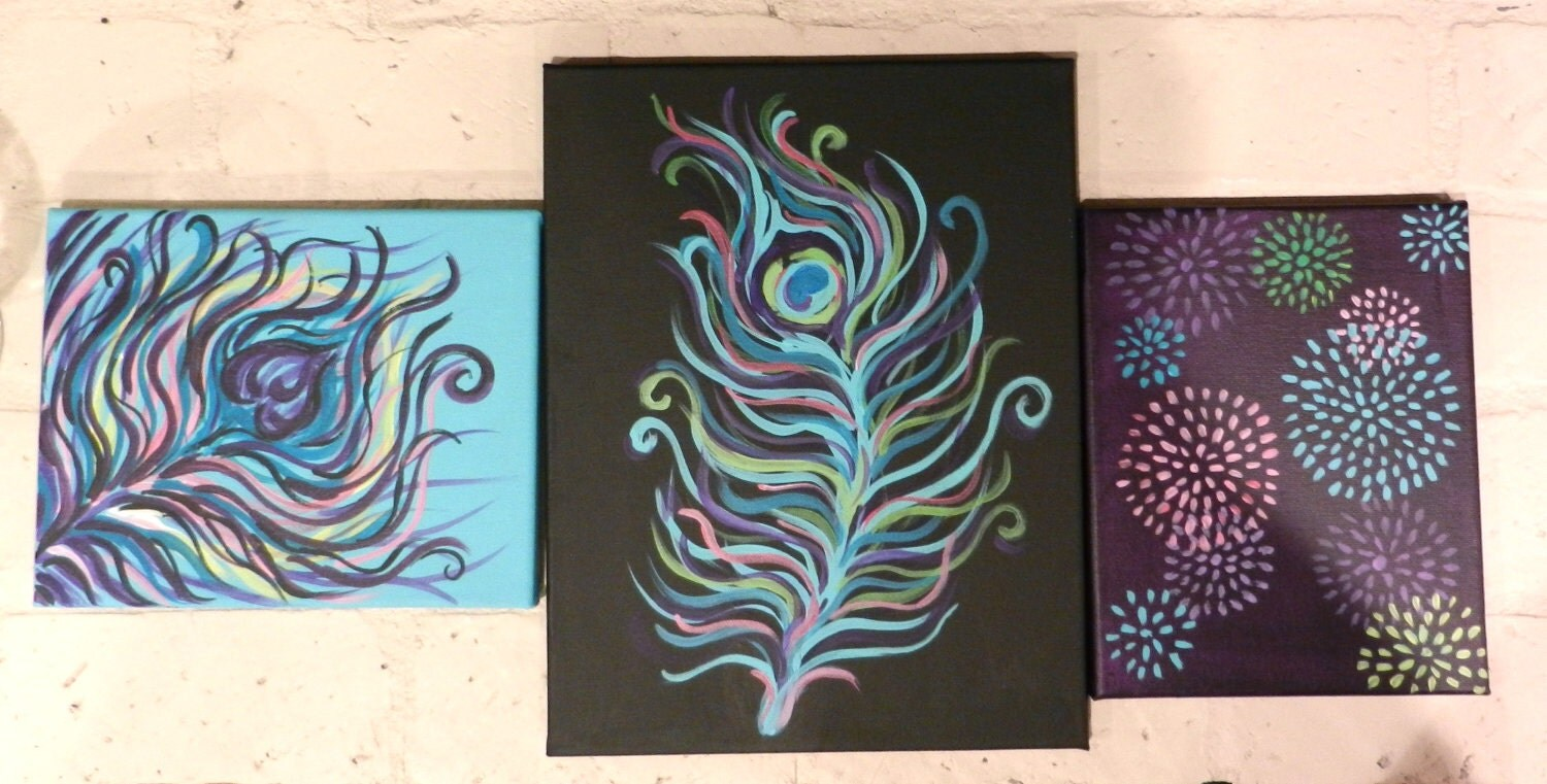 Peacock Design Wall Art : Items similar to peacock feather design wall art trio on etsy