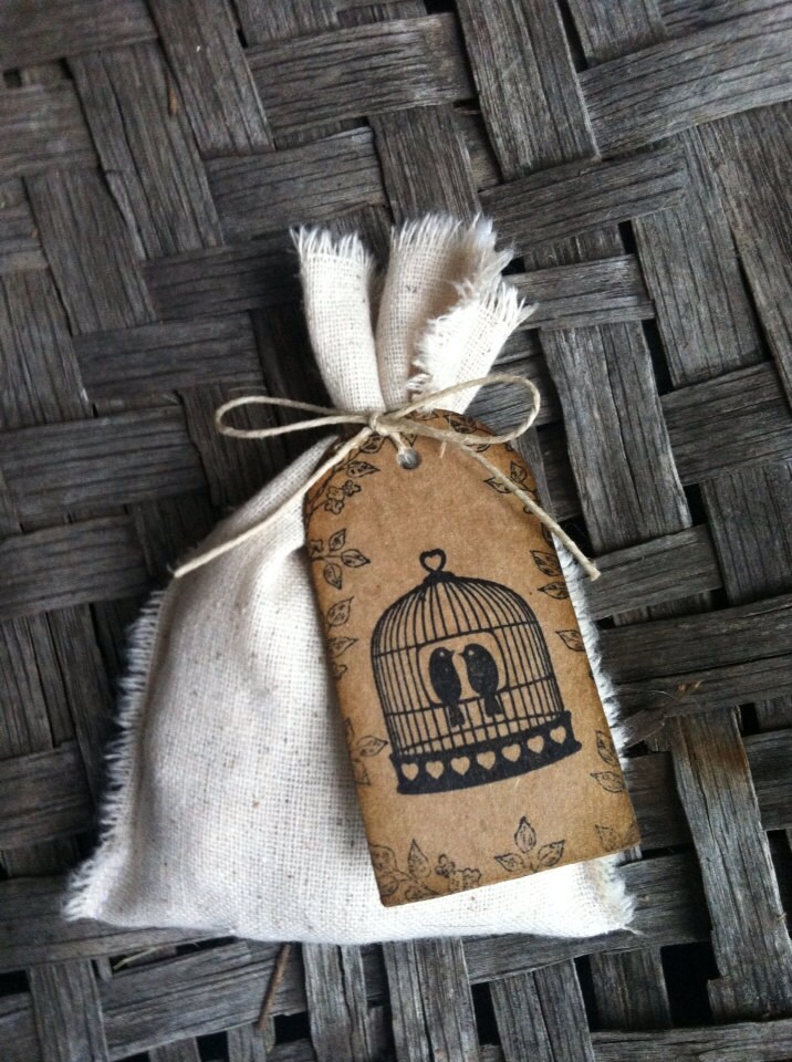 Country Rustic Nature Wedding Party Favor Bags Love birds - DaisyDazeDesign