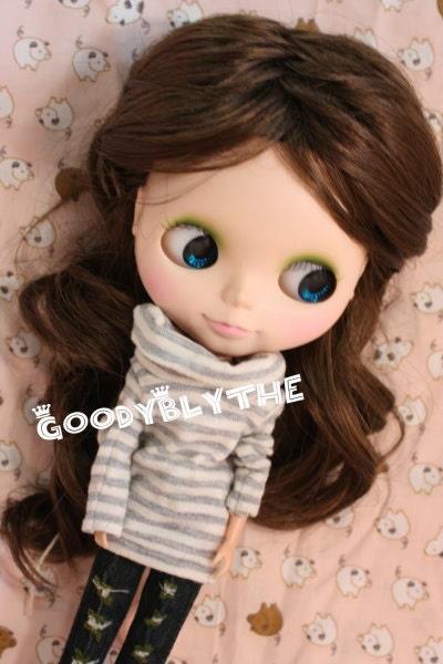 """12"""" Goodyblythe Blythe Hair Wig Light Brown Cute Style W159"""