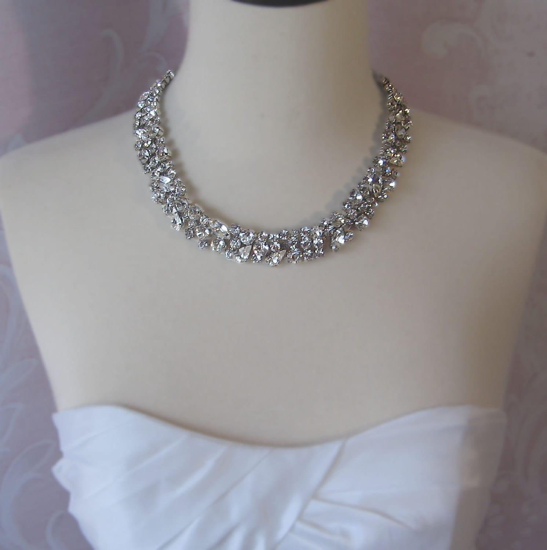 Rhinestone Necklace, Bridal Choker, Wedding Nacklace, Crystal Rhinestone Necklace - CHARLOTTE