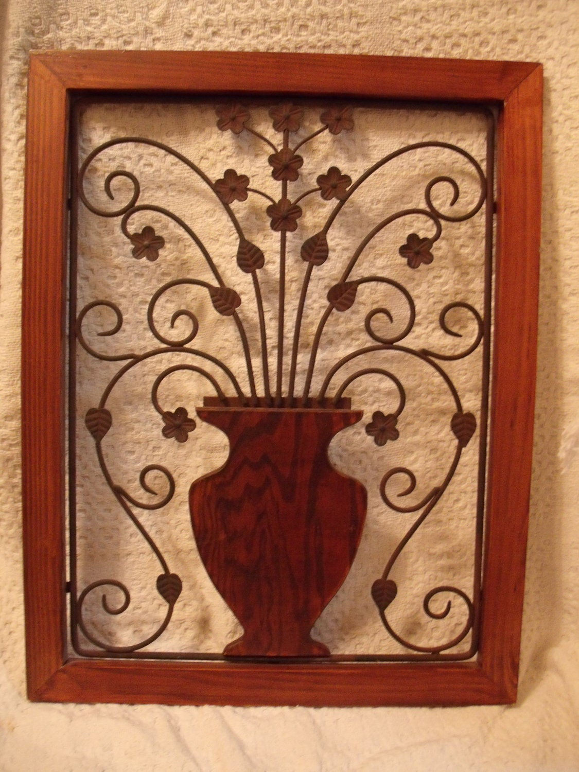 Wrought Iron Wall Decor With Wood Frame : Etsy your place to buy and sell all things handmade