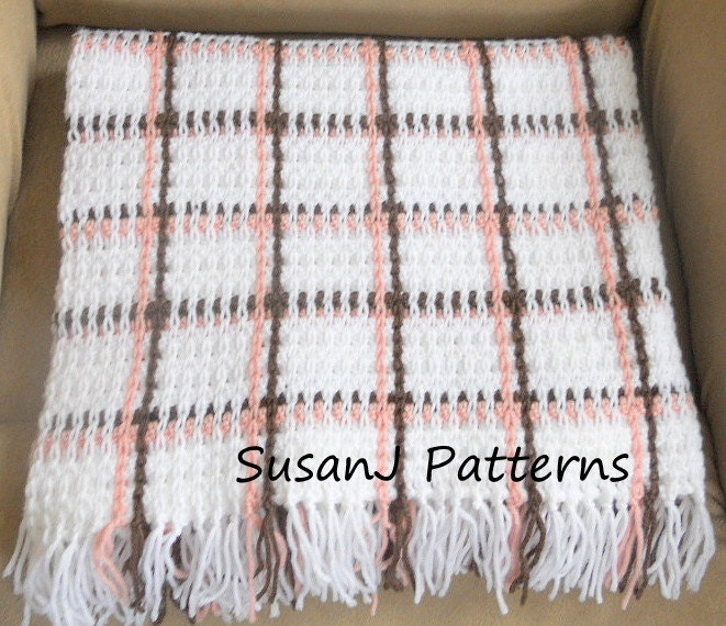 Crochet Pattern Baby Plaid Afghan by SusanJPatterns on Etsy