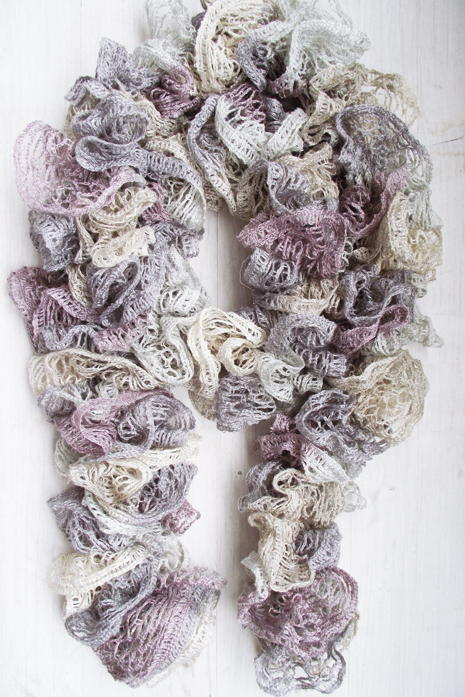 Frilly Scarf, Sashay Scarf, Women fashion scarf, Ruffled Scarf, Gray Scarf, Lavender scarf - TheSweetAndTheCool